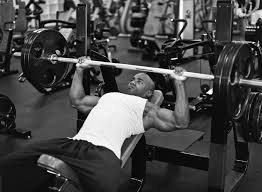 bodybuilder on a bench press