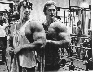 arnold with workout partner