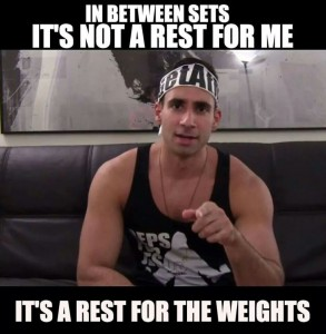 resting between sets meme